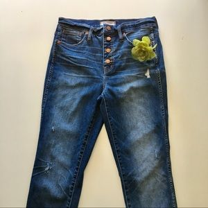 """Madewell - 10"""" high rise skinny button fly."""